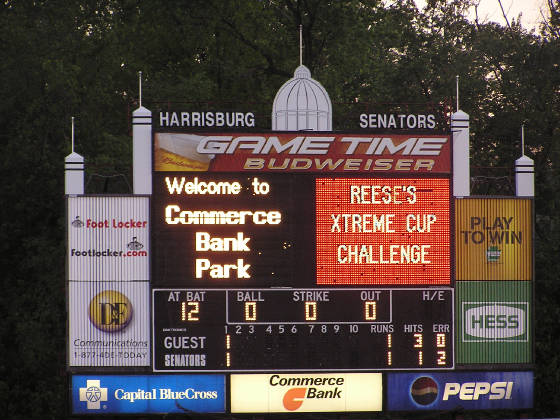 Commerce Bank Park Scoreboard - Harrisburg